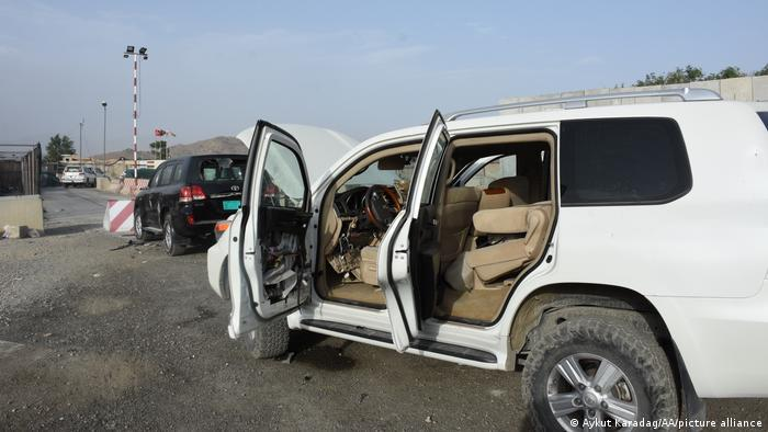 Wrecked cars abandoned in front of Kabul airport