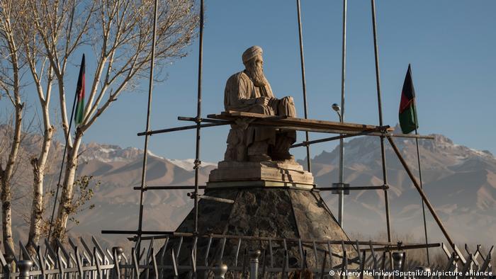 Statue of Hazara political leader Abdul Ali Mazari with mountains in the background