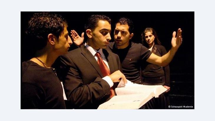 Al-Kasaba trainee actors in rehearsal (photo: Schauspiel-Akademie)