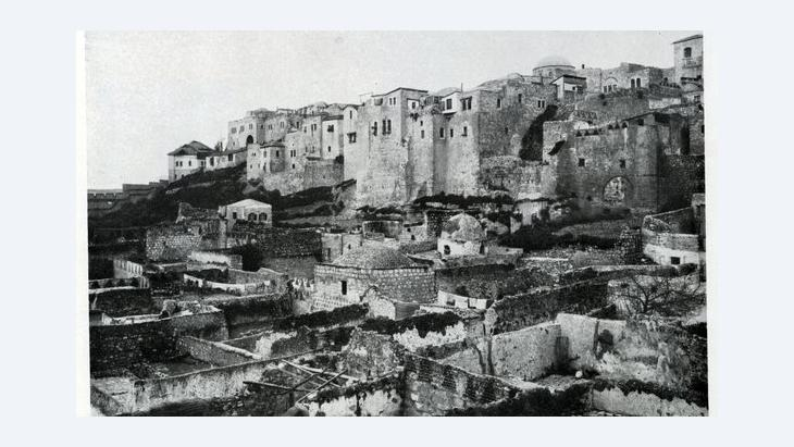 Historic photography of the ruins of Al-Madrasa Al-Afdhaliya in East Jerusalem's former Moroccan (or Mughrabi) Quarter (photo: American Colony/Library of Congress)