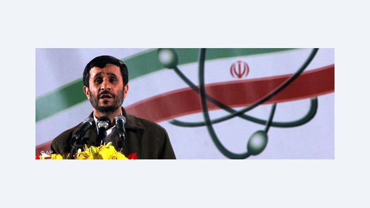 Iranian President Mahmoud Ahmadinejad making a speech in Natanz (photo: AP)