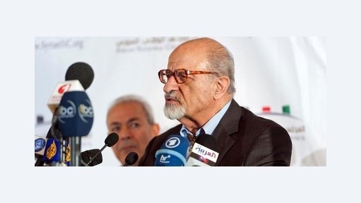 Haitham al-Maleh (right) and Burhan Ghalioun (background), chairman of Syrian National Council, which was formed in exile (photo: Nicolas Fauque/ABACAPRESS.COM)