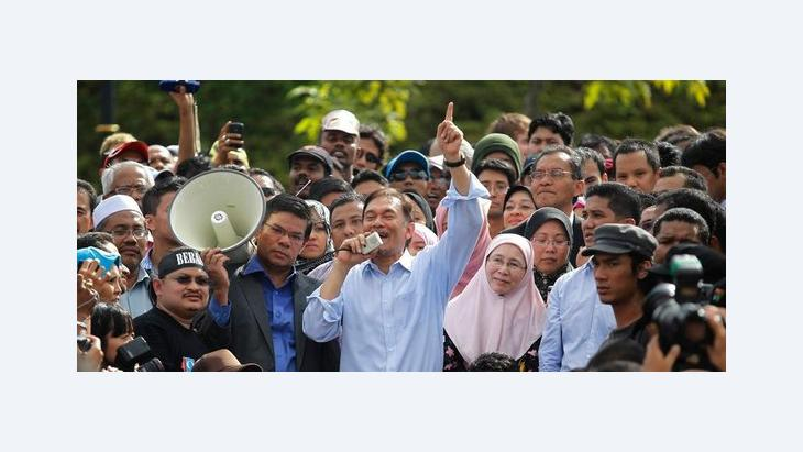 Anwar Ibrahim speaking at a rally in Kuala Lumpur right after his acquittal (photo: Reuters)