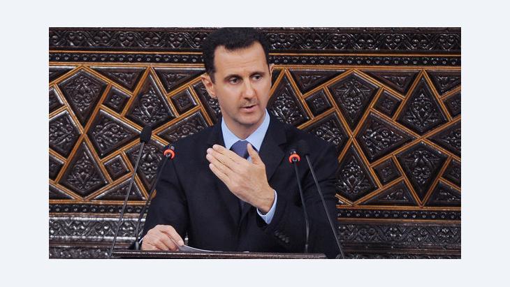 Syrian President Bashar al-Assad addressing parliament (photo: AP)