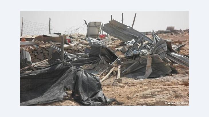 Destroyed Palestinian homes in the Southern Hebron Hills (photo: DW)