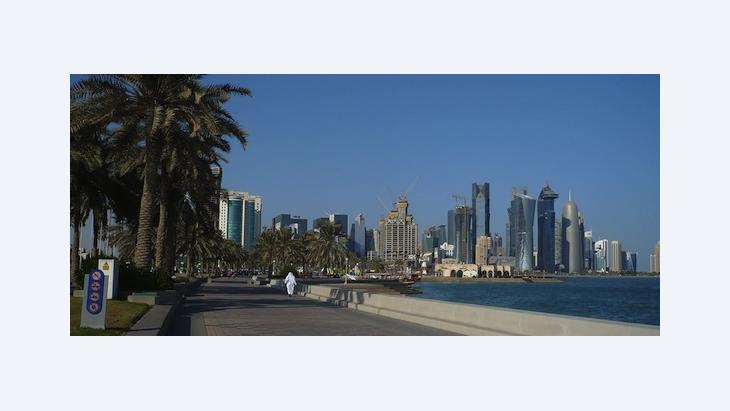 Promenade in and skyline of Doha, Qatara (photo: DW)