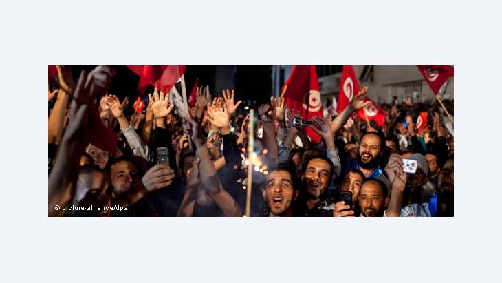 Ennahda supporters after the election vicotry on 25 October 2011 (photo: dpa)