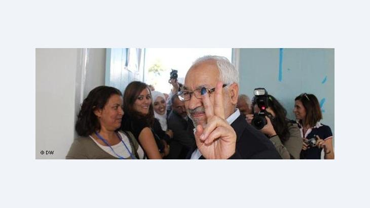 Rachid Ghannouchi, leader of the Ennahda party, after casting his vote in the recent Tunisian election (photo: Mounir Souissi/DW)