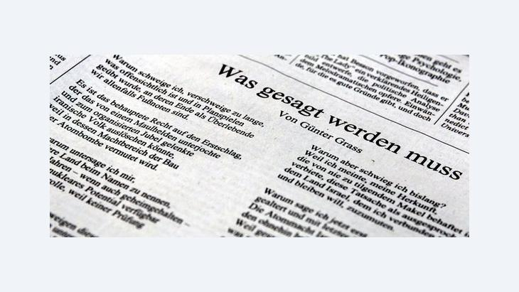 Grass's poem, published in Germany's daily ''Süddeutsche Zeitung'' (photo: dpa)