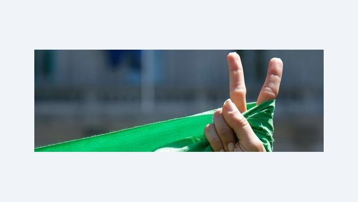 Green ribbon as a symbol for the Iranian Green Movement (photo: AP)