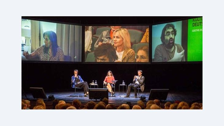 Panel of fhe 'Mapping Democracy' project at the Münchener Kammerspiele (photo: Judith Buss)