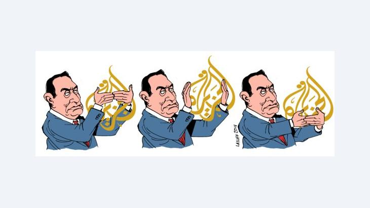 Latuff cartoon: Mubarak tries to censor Al Jazeera (image: Latauff/Wikipedia)