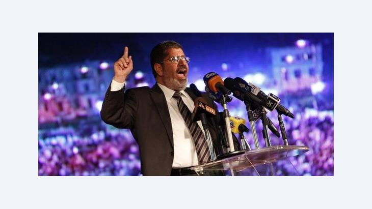 Mohammed Morsi giving a speech during his election campaign (photo: dpa)