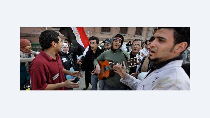 Young musicians on Tahrir Square in Cairo (photo: AP)