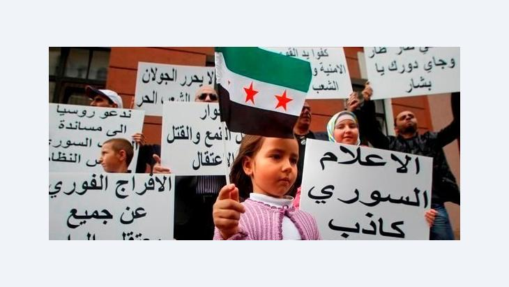 Demonstration against the Assad Regime in front of the Syrian embassy in Moscow (photo: AP)