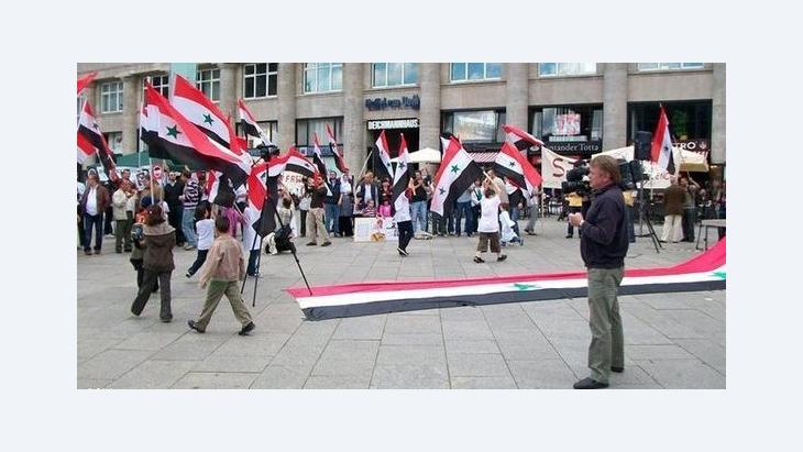 Syrian protesters in Cologne (photo: Deutsche Welle)