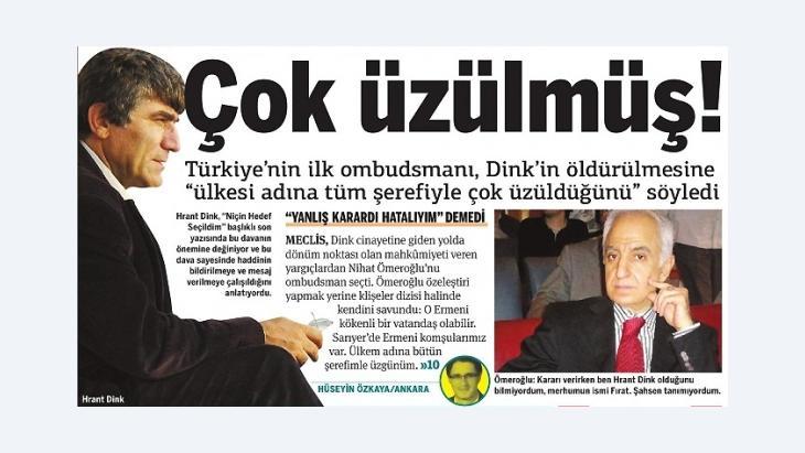 Screenshot of the Turkish daily 'Taraf' with a photograph of Hrant Dink and Mehmet Nihat Ömeroğlu (source: Taraf)