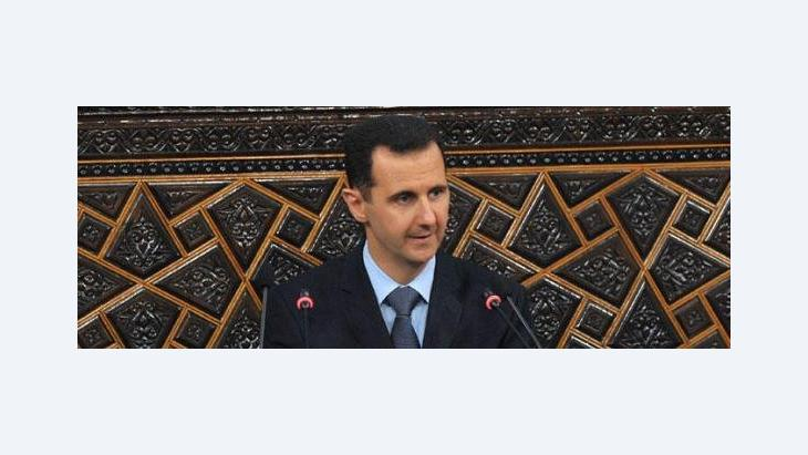 Bashar al-Assad during his speech in front of parliament on March 30 (photo: picture alliance/landov)