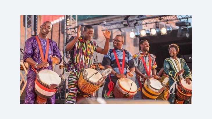 A djembe group performing at the Gnawa Festival in Essaouira (photo: © Karim Tibari/Festival d'Essaouira Gnaoua)