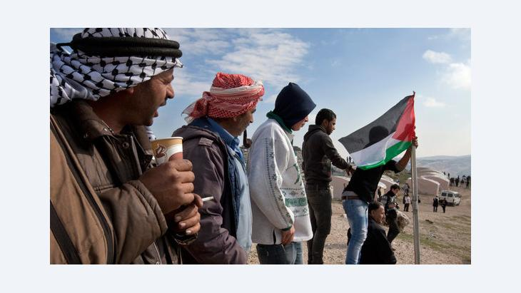 Palestinian activists from the tent city Bab al-Shams in the West Bank (photo: dpa/picture-alliance)