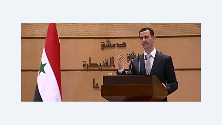 President Bashar al-Assad delivering a speech in Damascus on 10 January 2012 (photo: Syrian State Television via APTN/AP/dapd)