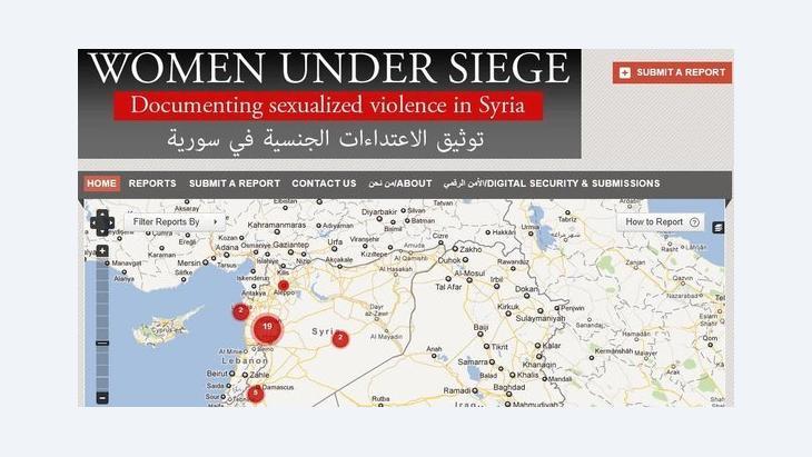 Screenshot from the 'Women under siege' website (source: https://womenundersiegesyria.crowdmap.com/)