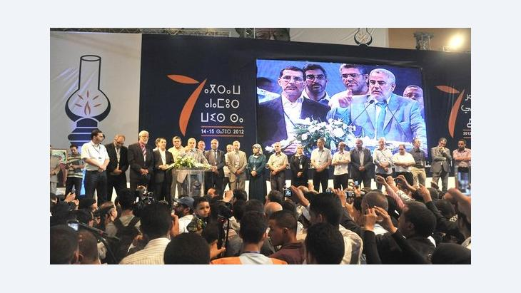 Congress of the PJD: Abdelilah Benkirane, general secretary of the PJD with members of the General Secretariat (photo: DW/Smail Bellaouali)