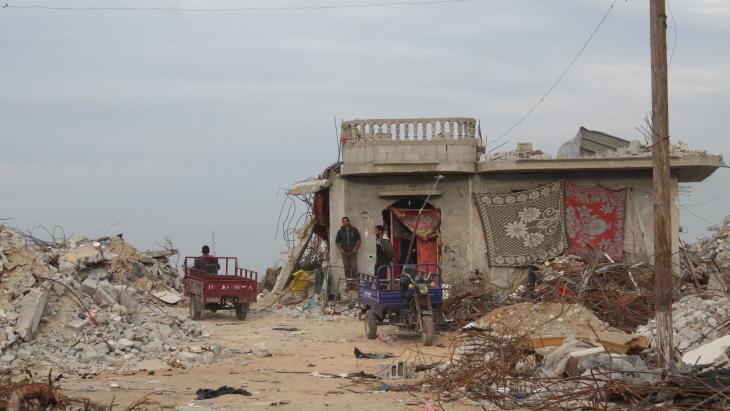 Um Fadi Al-Najjar's house in the Gaza border town of Khuza'a