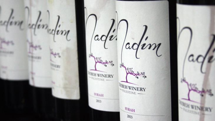"Bottles of Taybeh's ""Nadim"" wine, Arabic for ""drinking buddy"""