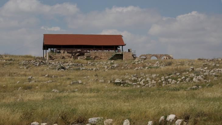 A view of the ancient synagogue, which was later turned into a mosque, from the road leading to Khirbet Susiya