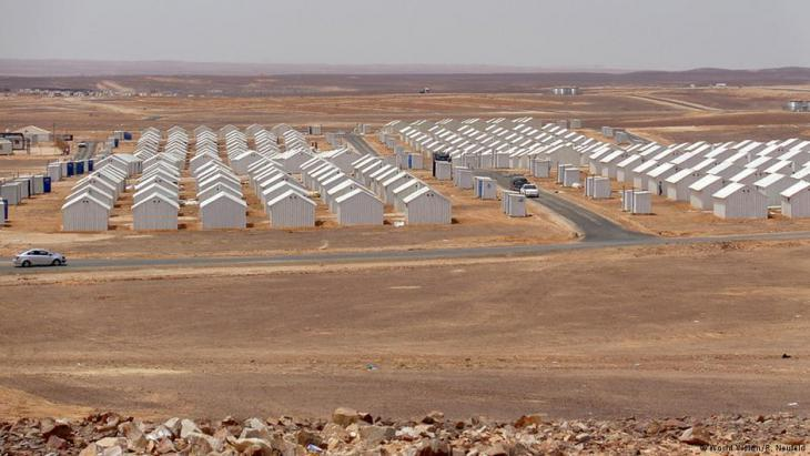 View of the Azraq refugee camp in the Jordanian desert