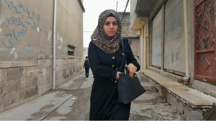 "Still from the film ""Identity Limits"", in which a mother struggles against the general perception in her Mosul neighbourhood that her husband was a ""Daeshi,"" a member of IS"