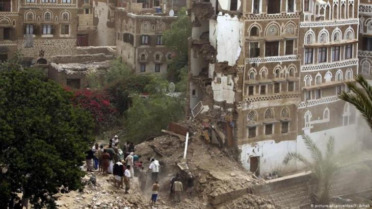 Destruction in the ancient heart of Sanaa.