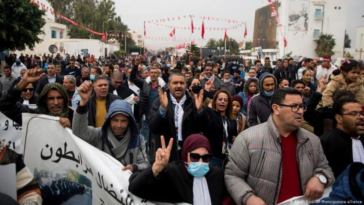Demonstration on the tenth anniversary of the Jasmine Revolution in Tunisia, December 2020.