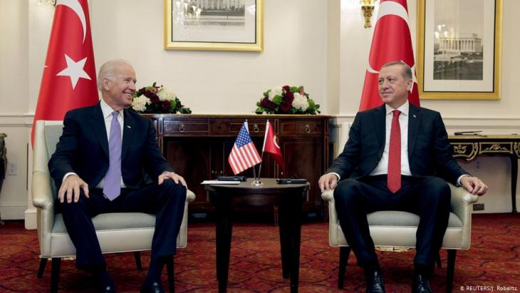 The then Vice President Joe Biden (l) attends a bilateral meeting with Turkish President Recep Tayyip Erdogan in Washington on 31 March 2016.