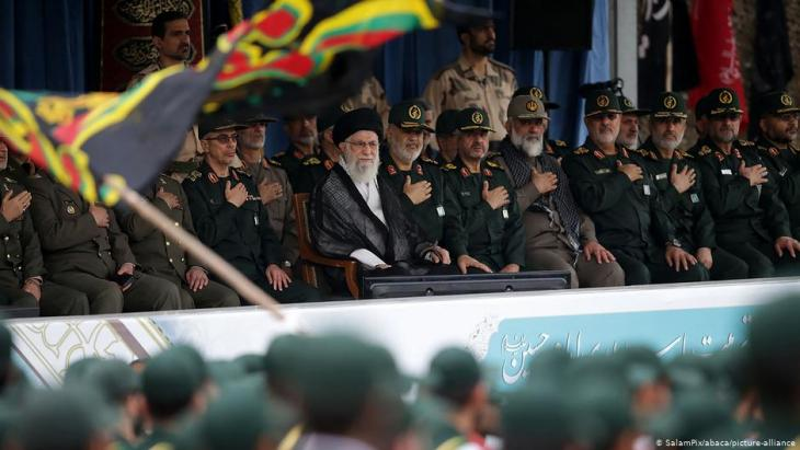 Iran's Supreme Leader Ayatollah Ali Khamenei and General Hossein Salami chief of the Revolutionary Guards attend a graduation ceremony for Iran's Islamic Revolutionary Guard Corps (IRGC) cadets at Imam Hussein University in Tehran, Iran, on 13 October 2019.