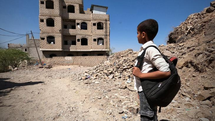 12-year-old Ahmed Al-Yousofi is among 1150 children using in an unfinished house near the frontlines in Taiz as a school.