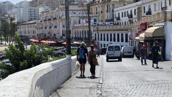 View of Tangier's harbour promenade.