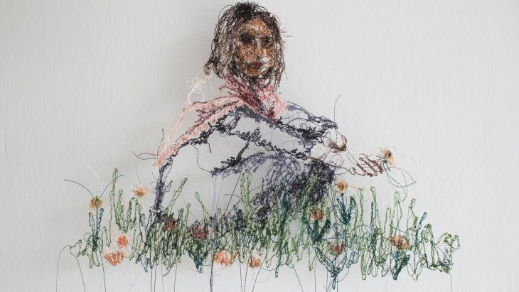 """Beizar Aradini's work """"To and From Home"""", thread on tulle, 2021."""