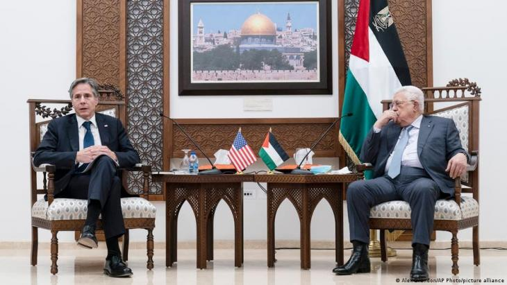 Secretary of State Antony Blinken speaks during a joint statement with Palestinian President Mahmoud Abbas, on 25 May 2021, in the West Bank city of Ramallah.