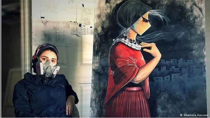 Afghan female graffiti artist Shamsia Hassani.