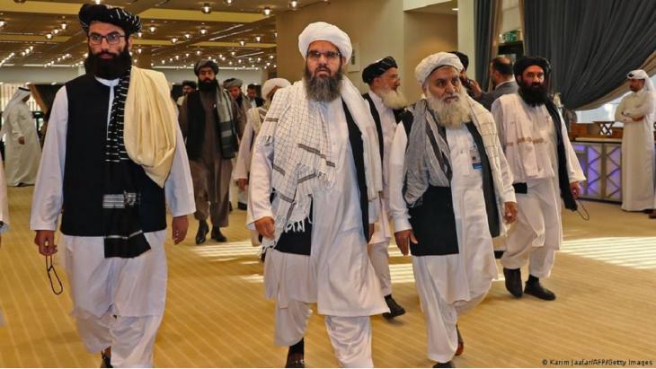Members of the Taliban negotiating delegation in Doha.
