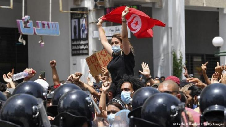 Protests against the miserable economic situation in Tunis in December 2020.