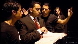 Al-Kasaba trainee actors in rehearsal (photo: Schauspiel-Akademie)