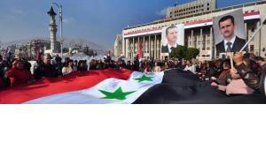 Pro-Assad rally in Damascus (photo: AP)