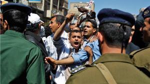 Protests against Yemen's former president Saleh in Sanaa, February 2011 (photo: AP)