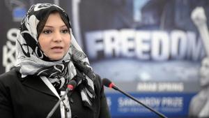 Asmaa Mahfouz, winner of the 2011 Sakharov Prize during the awarding ceremony (photo: EPA/Christophe Karaba)