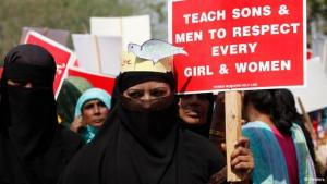 Activists in Lahore holding placards at a rally on International Women's Day (photo: REUTERS/Mohsin Raza)