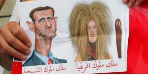 Caricature of Assad and Gaddafi on an anti-Assad protest in Paris (photo: ddp images/AP/Francois Mori