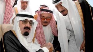 King Abdullah surrounded by members of the Saudi royal family (photo: epa/Saudi Press Agency)